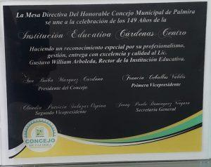 Exaltaci├│n Placa del Concejo Municipal de Palmira