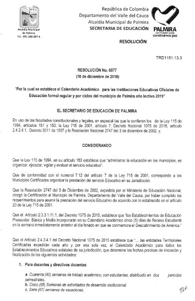 resolucion calendario