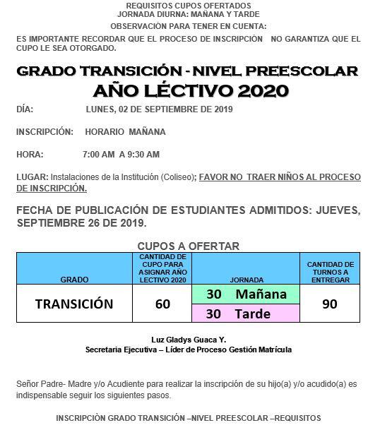 requisitos transicion 2020 1